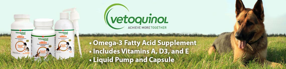 Vetoquinol Achieve more together; Omega-3 fatty acid supplements help maintain a healthy skin and coat for your pet