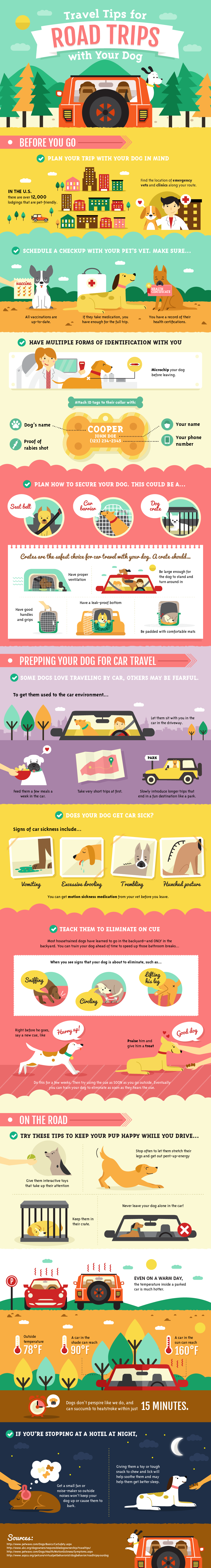 Travel Tips for Road Trips with Your Dog. An infographic by Amber Kingsley.