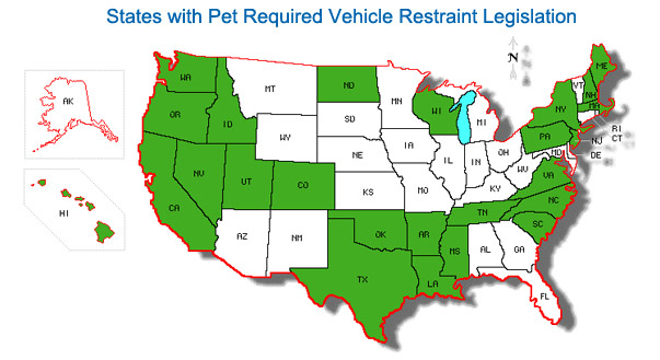States with Pet Required Vehicle Restraint Legislation
