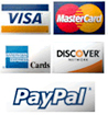 We accept Visa, Mastercard, Discover, American Express and PayPal