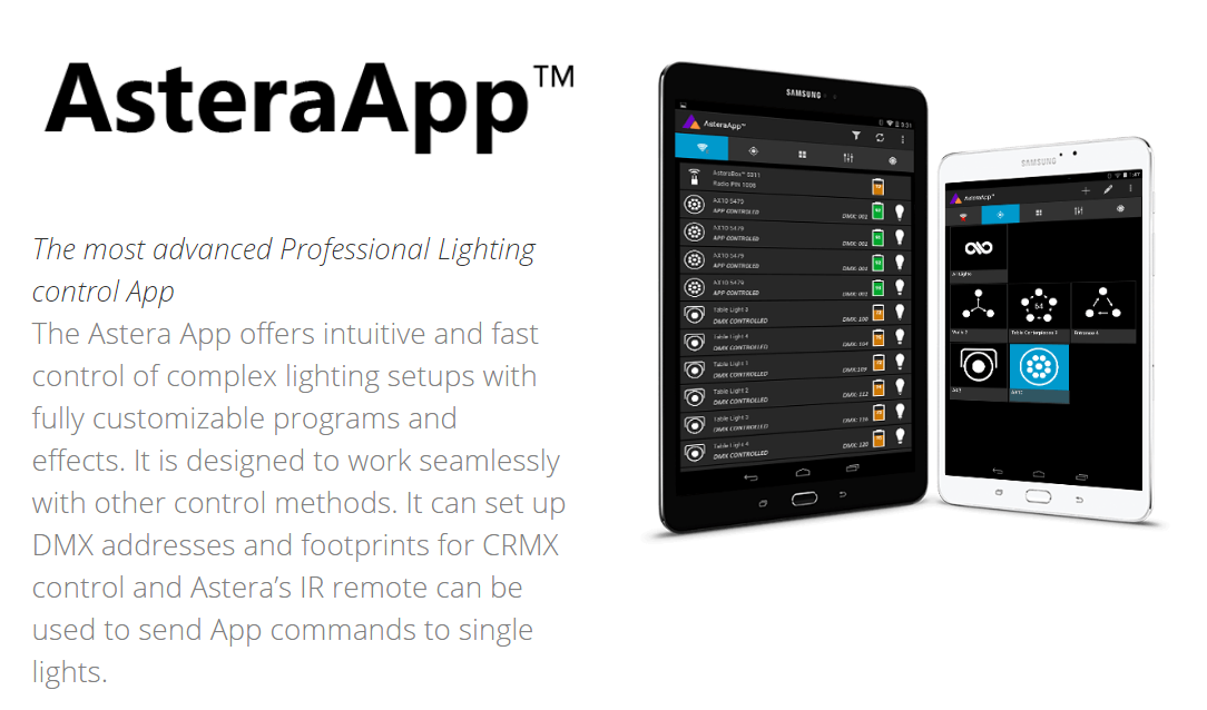 astera asteraapp led lighting control app