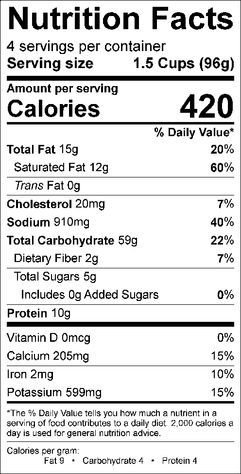Legacy Broccili Bake Nutrition Label