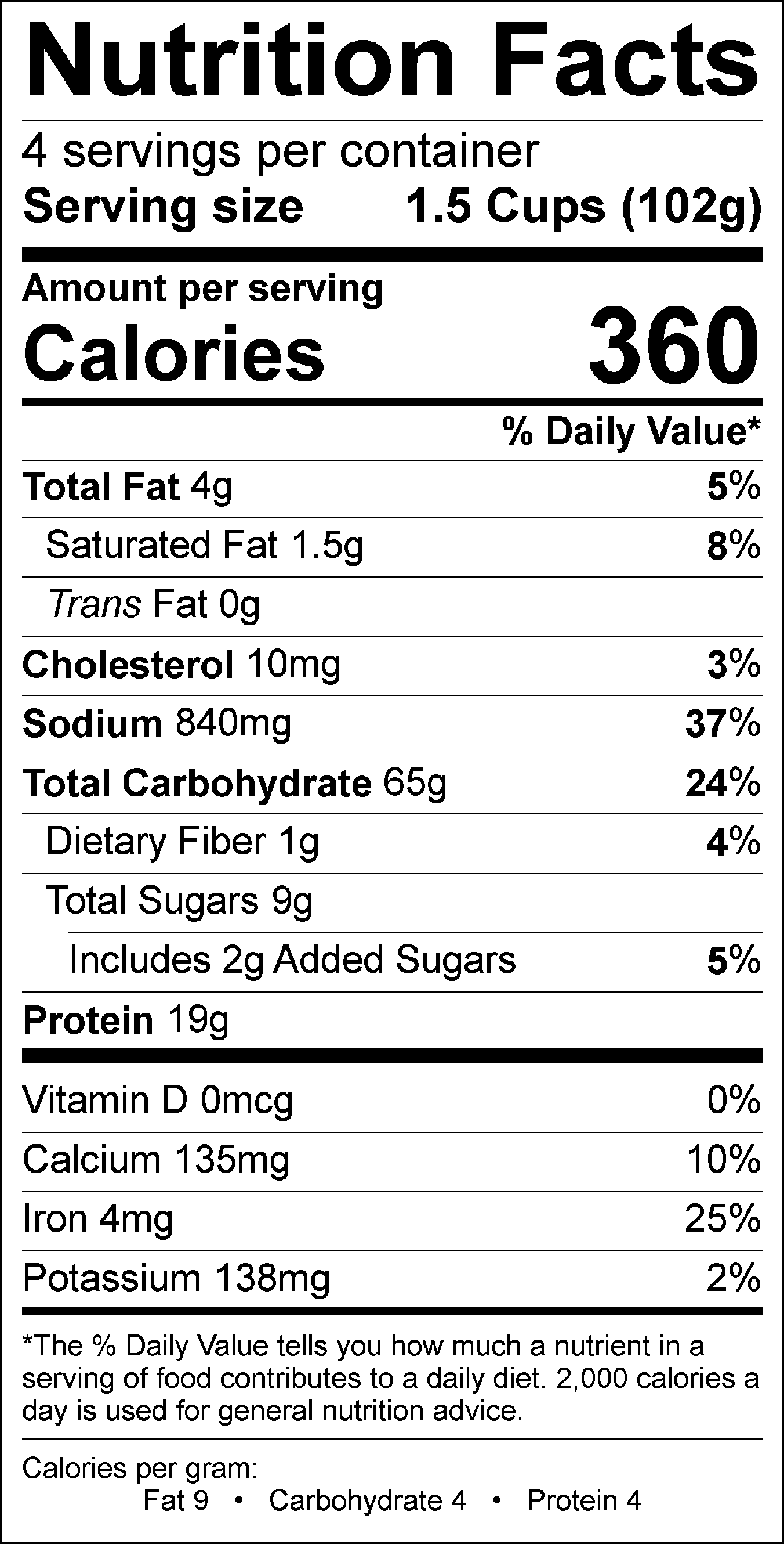 Chili MAc Nutrition Label