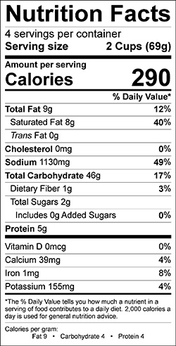 Creamy Vegetable and Rice Soup Mix Nutrition Info