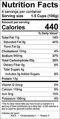Macaroni and Cheese Nutrition