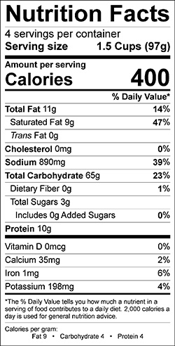 Vegetable and Rotini Pasta Nutrition Info