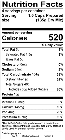 Nine-Grain Cereal Nutrition Label