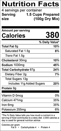 Legacy Old Fashioned Pancake Mix Nutrition Label