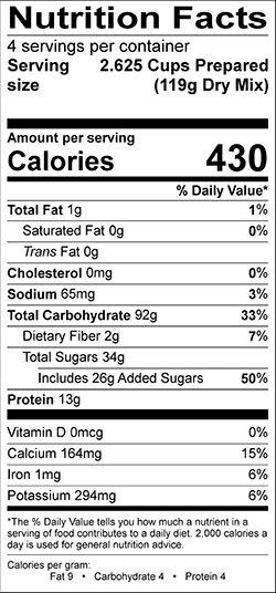 Legacy Strawberry Creamy Wheat Nutrition Label
