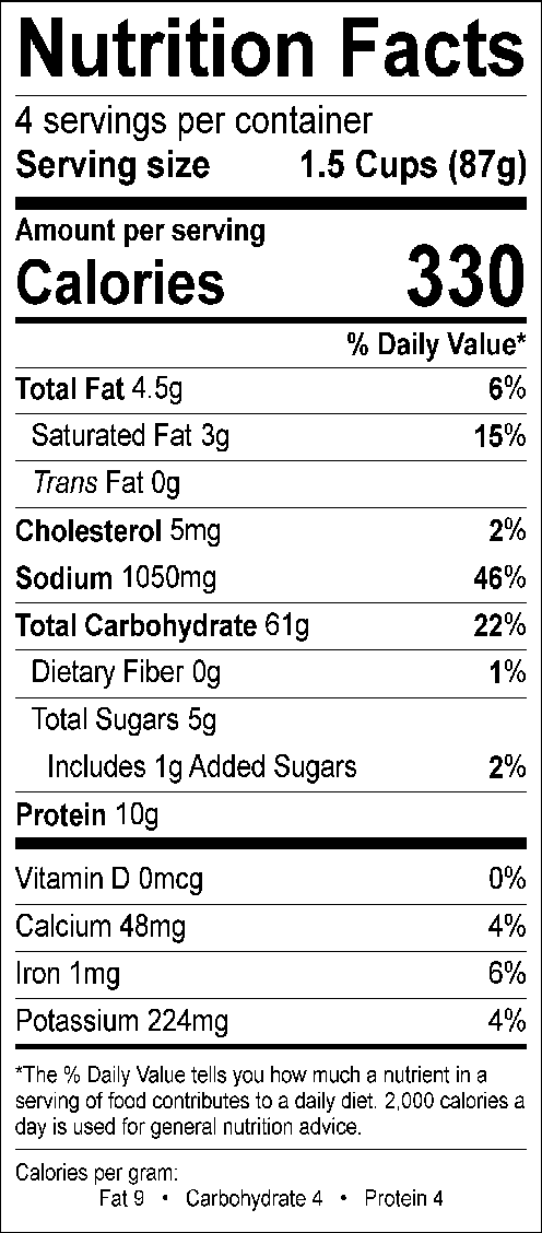 Stroganoff Nutrition Label