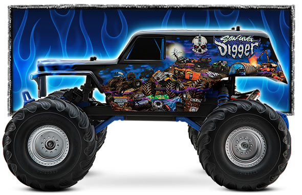 traxxas 1 10 scale son uva digger 2wd monster jam replica monster truck 36044. Black Bedroom Furniture Sets. Home Design Ideas