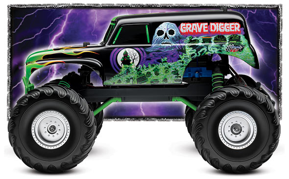 traxxas 1 10 scale grave digger 2wd monster jam replica monster truck 3602a. Black Bedroom Furniture Sets. Home Design Ideas