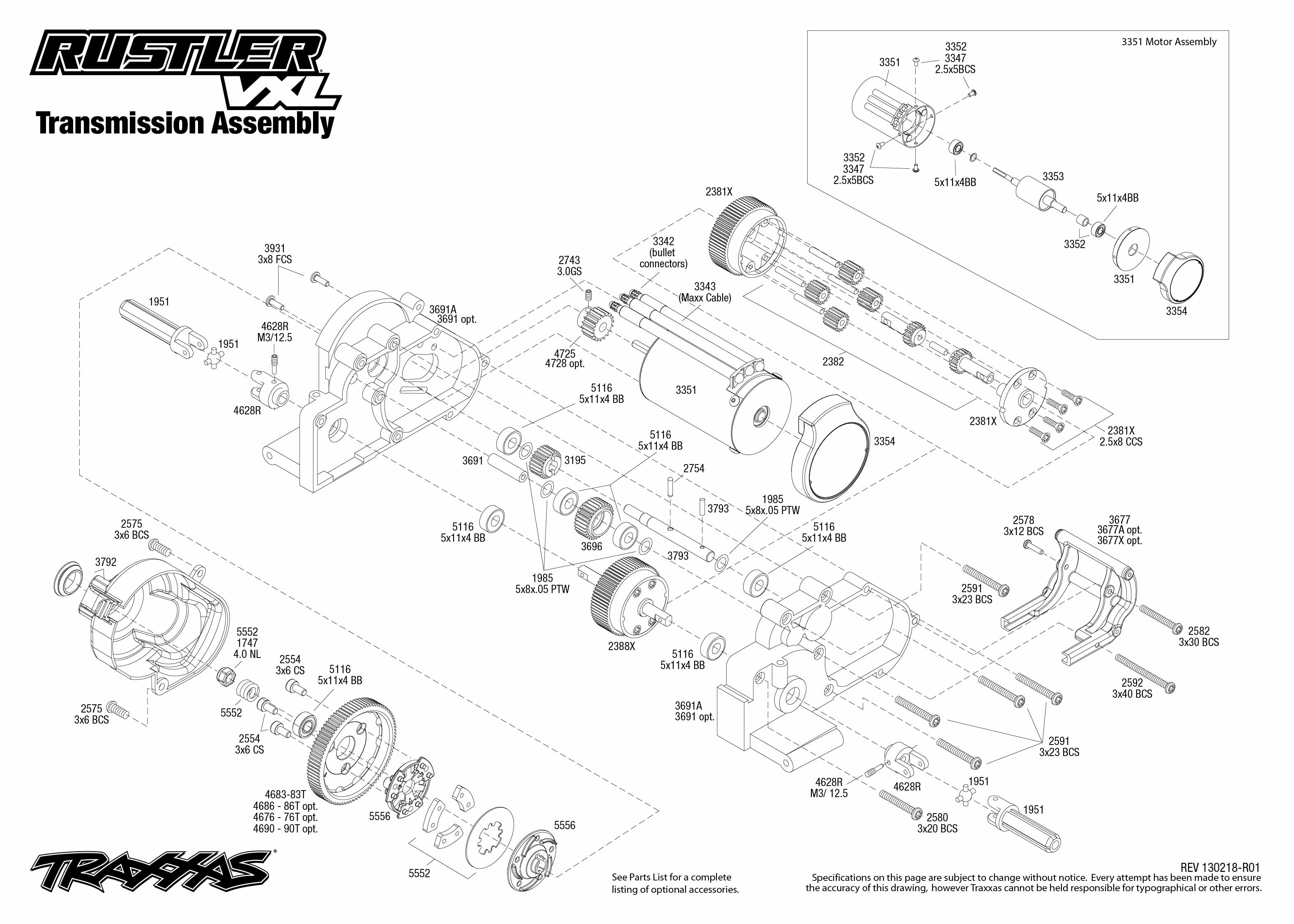 Traxxas Bandit Vxl Diagram Wiring Diagrams For Dummies Gearing Chart Slash Speed 1 10 Scale Rustler 2wd Brushless Stadium Truck Parts