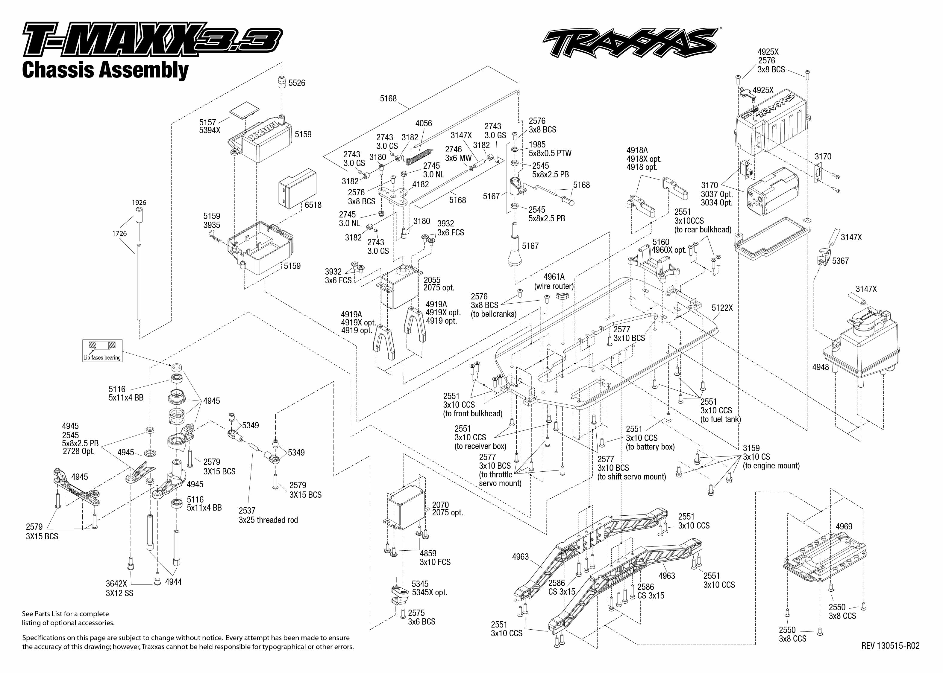 4907_Tmaxx33_TQi_explodedviews 130515_4907 Chassis Assembly traxxas 1 10 scale t maxx 3 3 4wd monster truck 4907 traxxas 6518 wiring diagram at reclaimingppi.co