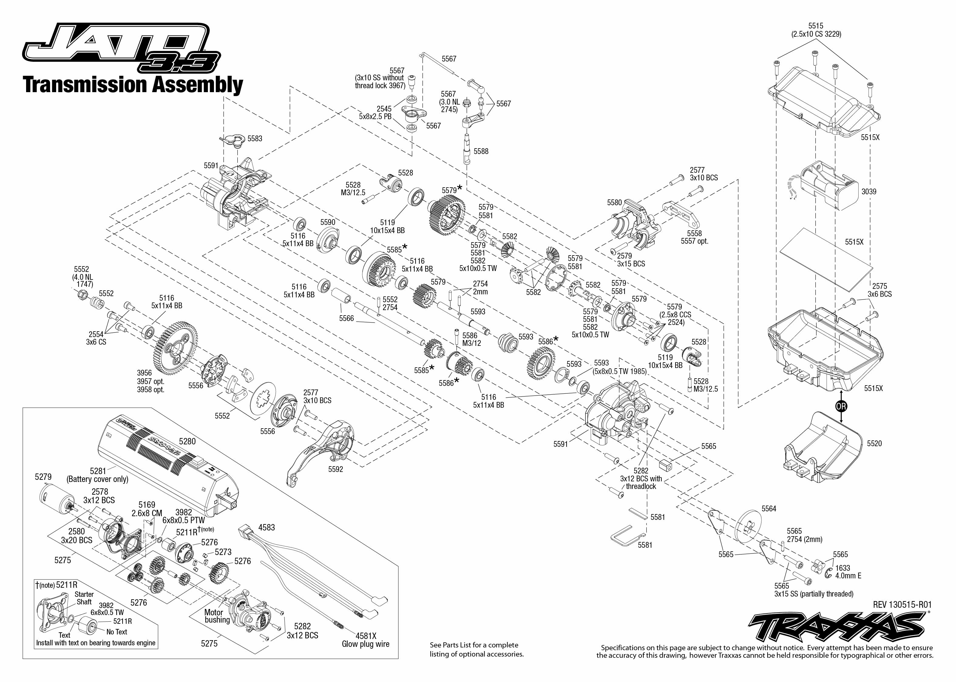 5507_Jato 33 TQi_Explodedviews_130515_5507 Transmission Assembly traxxas jato 3 3 wiring diagram traxxas jato 2 5 box \u2022 indy500 co 3-Way Switch Wiring Diagram for Switch To at gsmportal.co