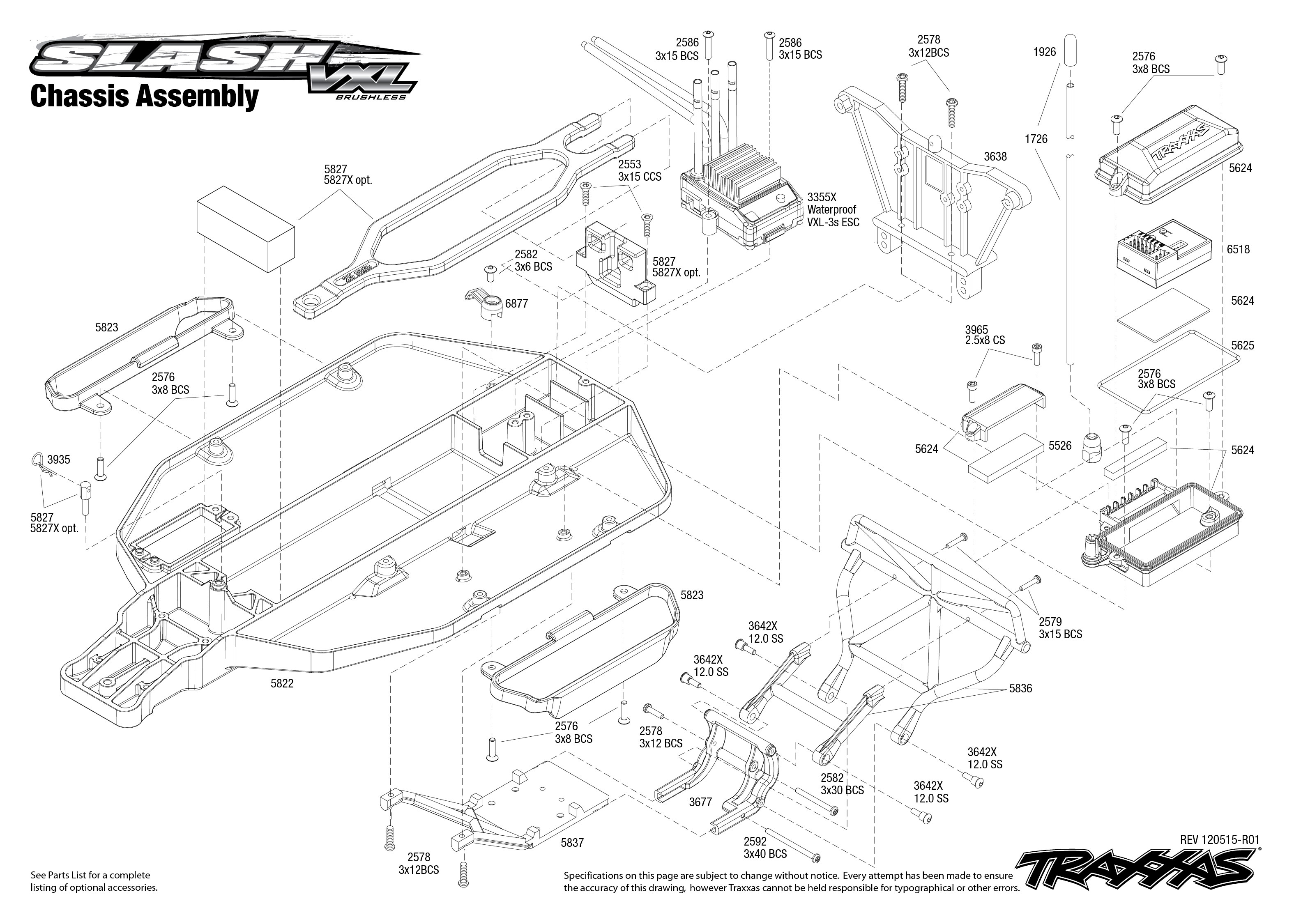 Traxxas 110 scale slash vxl 2wd brushless short course truck 5807l 5807 chassis exploded view slash vxl with tqi 24ghz radio pooptronica Images