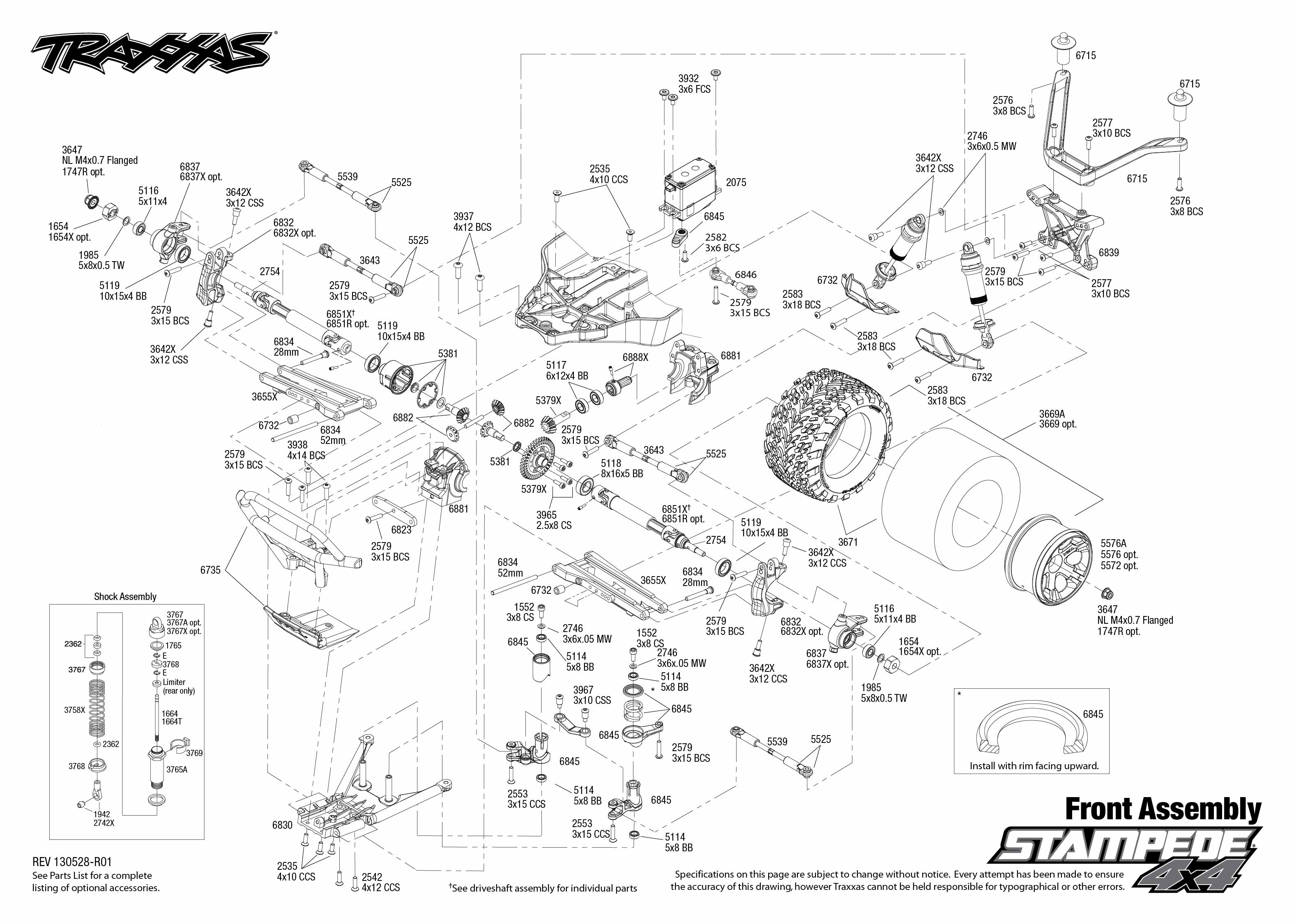 Traxxas Stampede Parts Diagram 30 Wiring Images Vxl Monster Jam Replicas 3602 6708l 4x4 Tqi Explodedviews 130528 6708 Front Assembly 0 1 10 Scale 4wd Brushless Truck