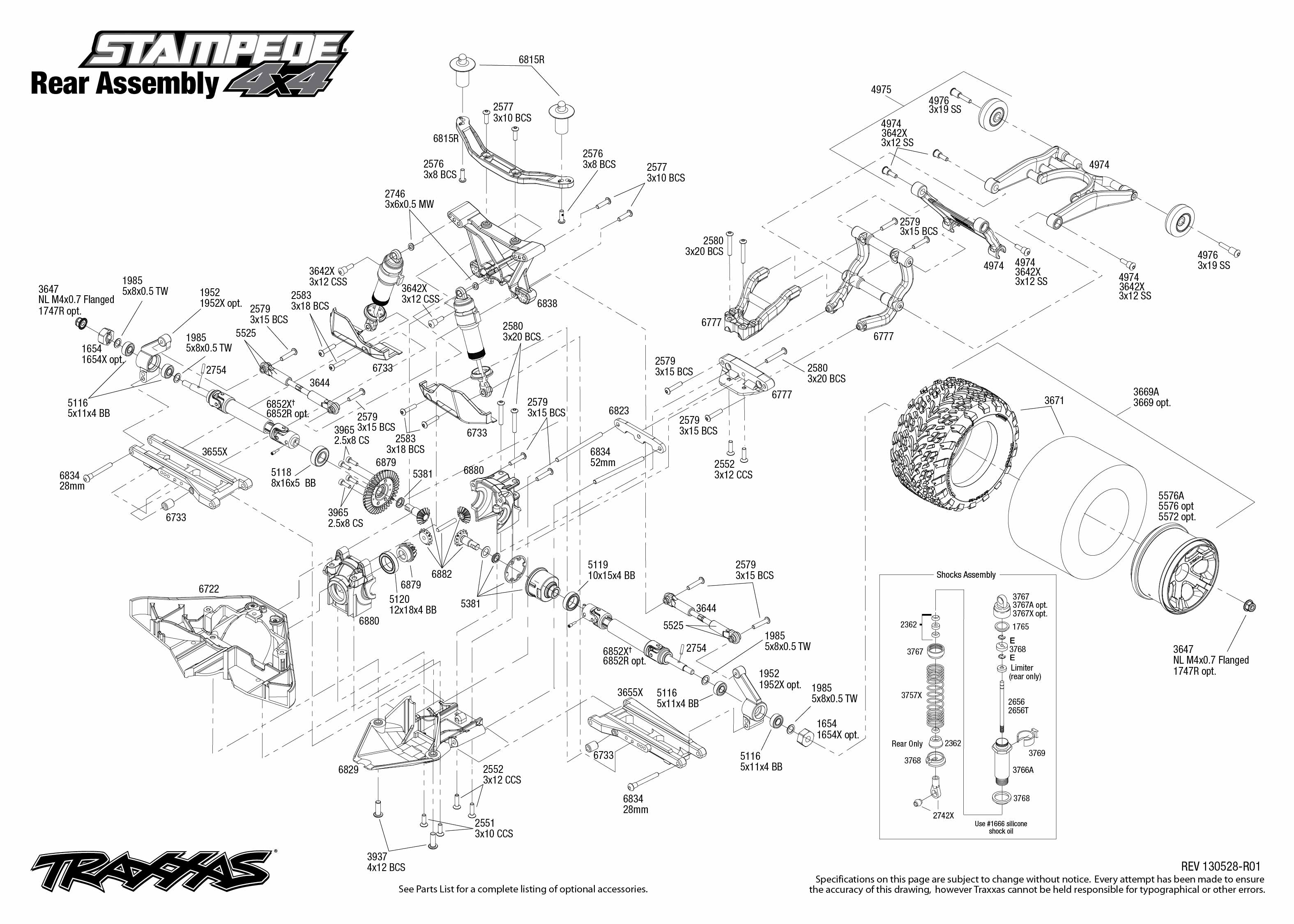 6708L_Stampede 4x4_TQi_Explodedviews 130528_6708 Rear Assembly_0 traxxas 1 10 scale stampede 4x4 vxl 4wd brushless monster truck traxxas stampede wiring diagram at panicattacktreatment.co
