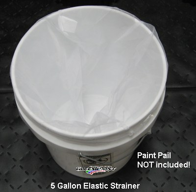 Elastic strainer in 5 gal can