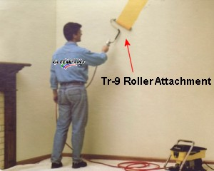 Airless Roller Attachment In Use