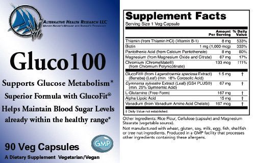 glucose100 product label