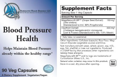 blood pressure supplement label