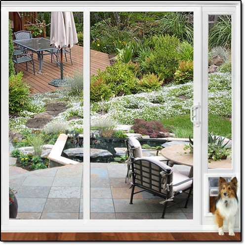 Sliding Glass Patio Pet Door Panel For An Almost Invisible Pet