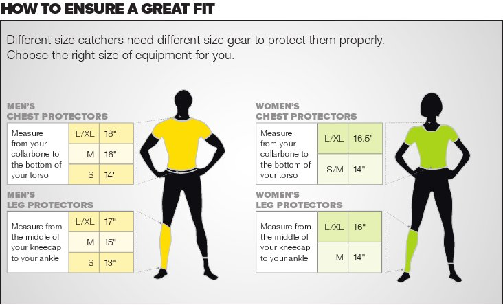 Catcher Gear Size Chart