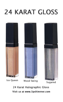 24K Lip Gloss with Halographic Special Effects and 24 Karat Lip Gloss Glitter