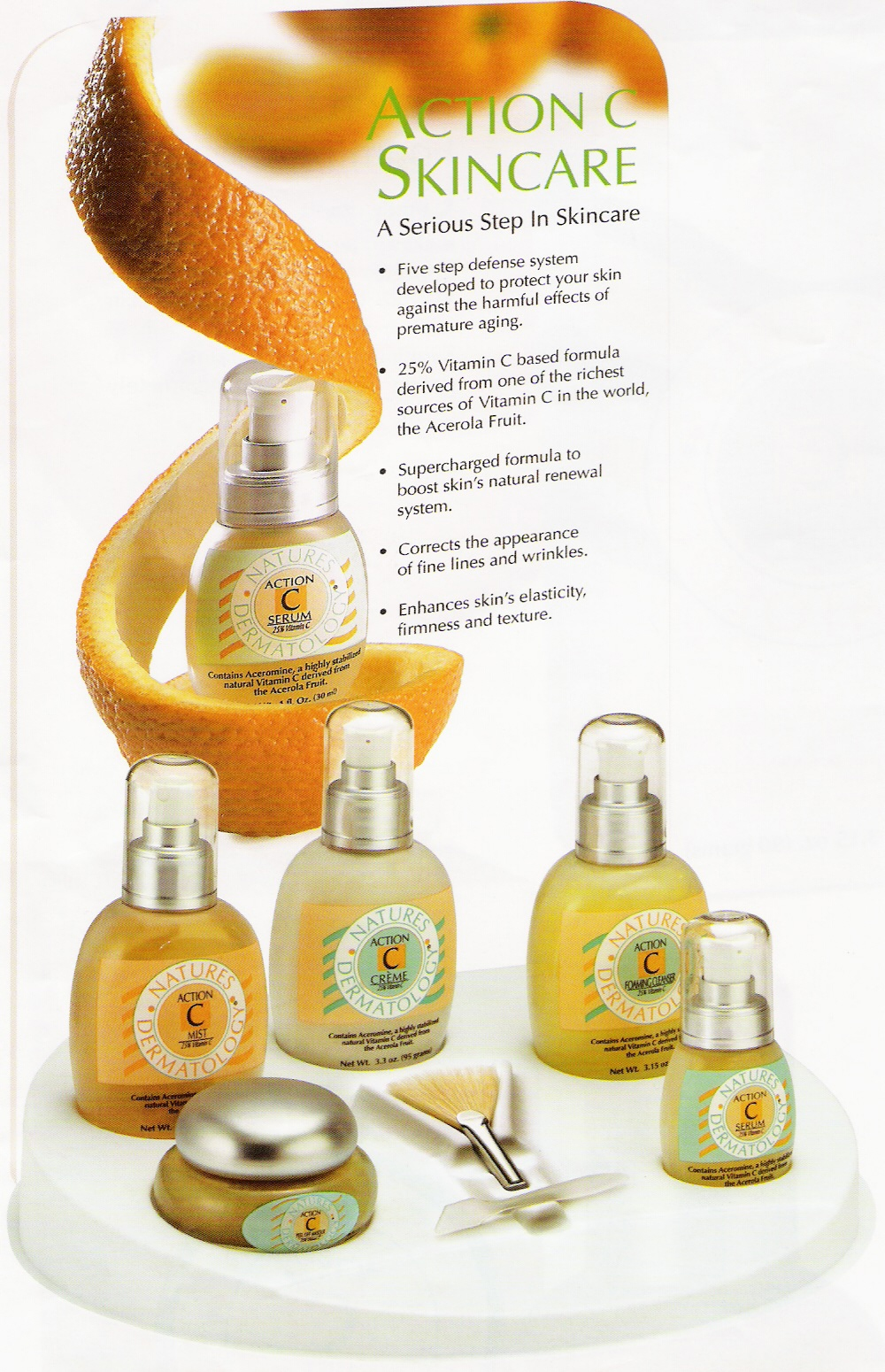ACTION C SKIN CARE NATURES DERMATOLOGY | Anti-Aging Skin Products from NATURAL DERMATOLOGY and SKIN CARE | Action C is Nature's Dermatology, a High Potency Vitamin C Infusion Therapy System for Women and Men over 30, Acne Prone Skin, Sensitive Skin, Aging or Sun Damaged Face or Skin. For the Best Vitamin C Serum, Vitamin C Cream, Vitamin C Foaming Cleanser, Vitamin C Treatment Peel Off Masque and Vitamin C Moisture Lotion - Visit us at www.natures-dermatology.com