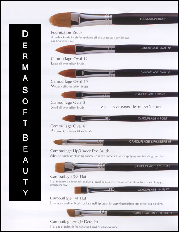 Please Click to Enlarge Taklon Makeup Brushes. Makeup Artist Camouflage Brushes for Face Makeup, Concealer & Liquid Foundation, Creme Blush, Shimmer Tints, Liquid Bronzer and Eye Shadow by DermaSoft® Beauty & Cosmetics