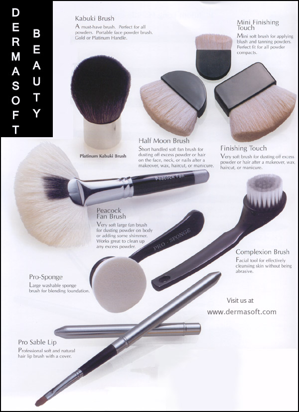 Please Click to Enlarge Kabuki, Peacock and Fan Makeup Brushes. Makeup Artist Brushes for Face Powder, Makeup, Foundation, Blush, Mineral Shimmer, Bronzer and Eye Shadow by DermaSoft&reg Beauty & Cosmetics