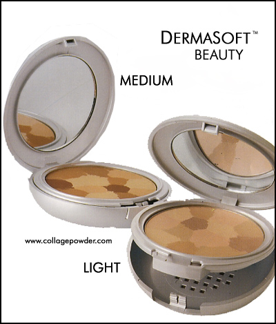 Perfect Mineral Finishing Powder from DermaSoft™ Beauty and Cosmetics. Hypoallergenic, Pressed Powder Foundation Makeup in Mosaic Collage, Sheer Radiance, Light, Medium and Bronze Skin Shades