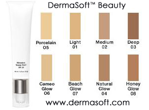 Oil Free Tinted Moisturizing Liquid Foundation with Broad Spectrum SPF 20 from DermaSoft™ Natural Beauty and Cosmetics. Hypoallergenic, Mineral Tints are a Moisturizer, Makeup and Sunscreen in one Sheer Lotion for use alone or under or over other Foundation Makeup. Hypoallergenic, Oil Free and Fragrance Free Makeup.