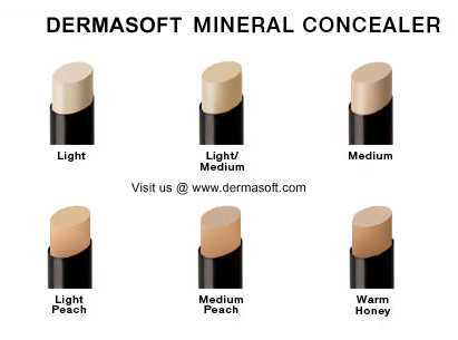 Mineral Touch Hypoallergenic Concealer Maekup comes in Light, Light/Medium, Medium, Light Peach, Peach & Medium Peach Skin Tones