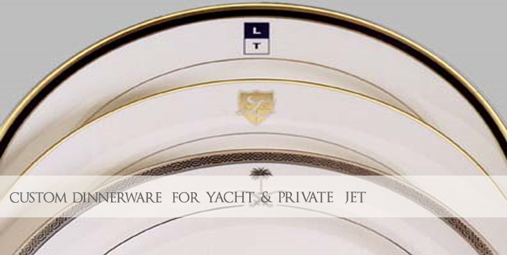 Custom Logo Dinnerware for Yacht and Private Aircraft
