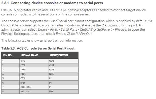 2.3.1 Connecting device consoles or modems to serial ports