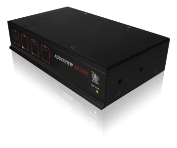 Adder AVSD1004 4 Port Secure KVM Switch -  Uni-directional Data Paths, 60dB Crosstalk Isolation, Independent Power Block, & No Shared RAM