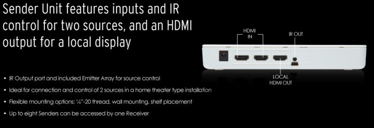 Gefen EXT-WHD-1080P-LR Application - Features two HDMI inputs, and two IR inputs for control