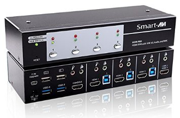 SmartAVI HKM-PROS 3 Port HDMI 1080P KVM Switch with USB3 Peripheral Ports