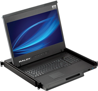 Raloy RF117HD 17 Inch LED Rackmount Monitor & Keyboard Console Drawer - MAC keyboard available - VGA, DVI - 3 to 32 Port KVM