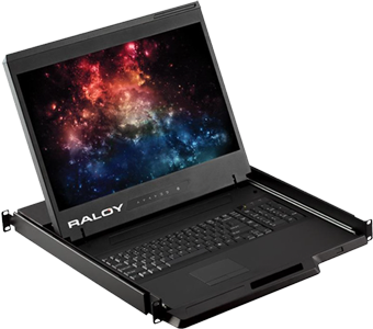 Raloy RWX119 19in Rackmount Monitor Console Drawer with 16 port KVM Over IP switch