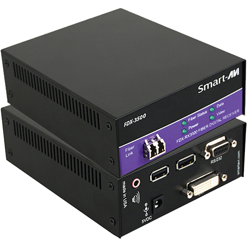 SmartAVI FDX-3500 KVM DVI-D, Audio, and RD-232 Fiber Extender (1,400Ft)