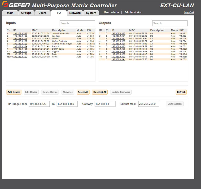 Gefen EXT-CU-LAN Web Interface - Discovery View