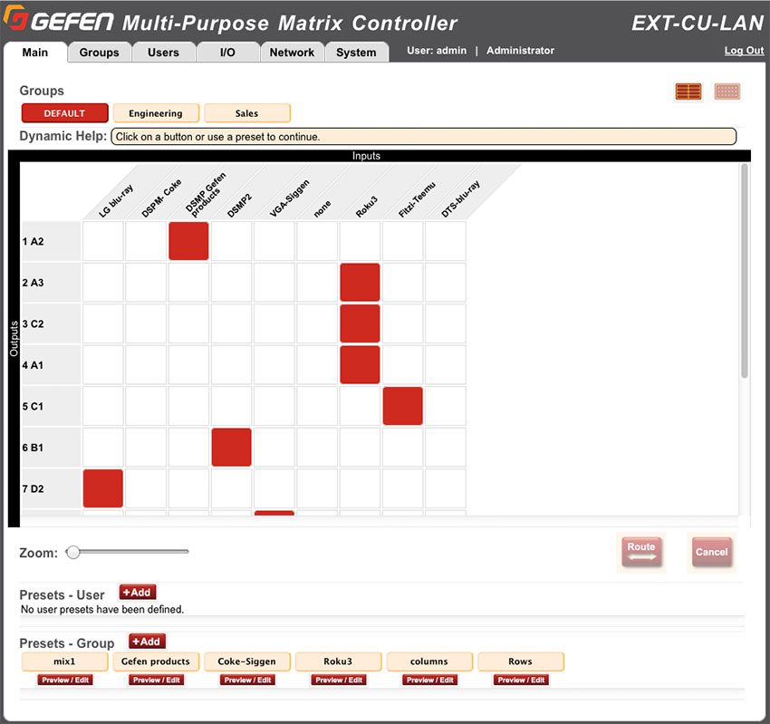 Gefen EXT-CU-LAN Web Interface - Grid View