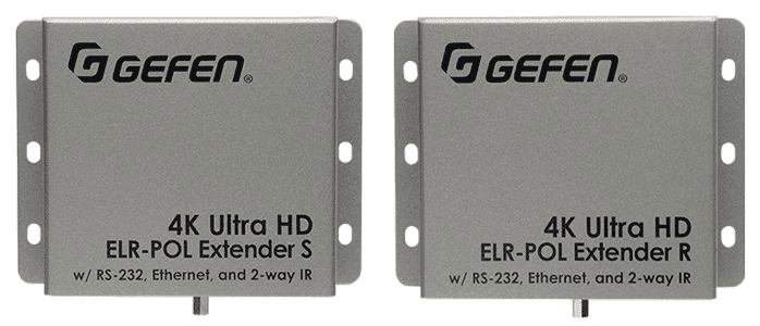 Gefen EXT-UHD-CAT5-ELRPOL 4K Ultra HD Video Extender for HDMI over CAT-5 with Ethernet, RS-232, Bi-Directional IR, and POL