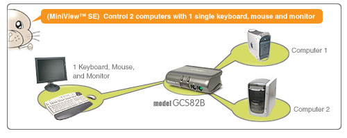 IOGEAR MiniView 2-Port KVM Switch GCS82B