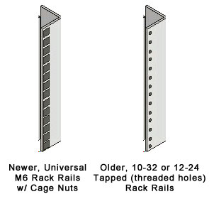 Server rack rail styles