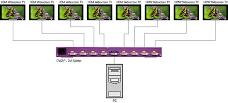 SmartAVI DVS8P DVI-D Splitter Application Diagram