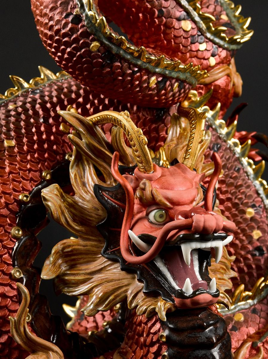 Lladro Protective Dragon Golden Luster and Red